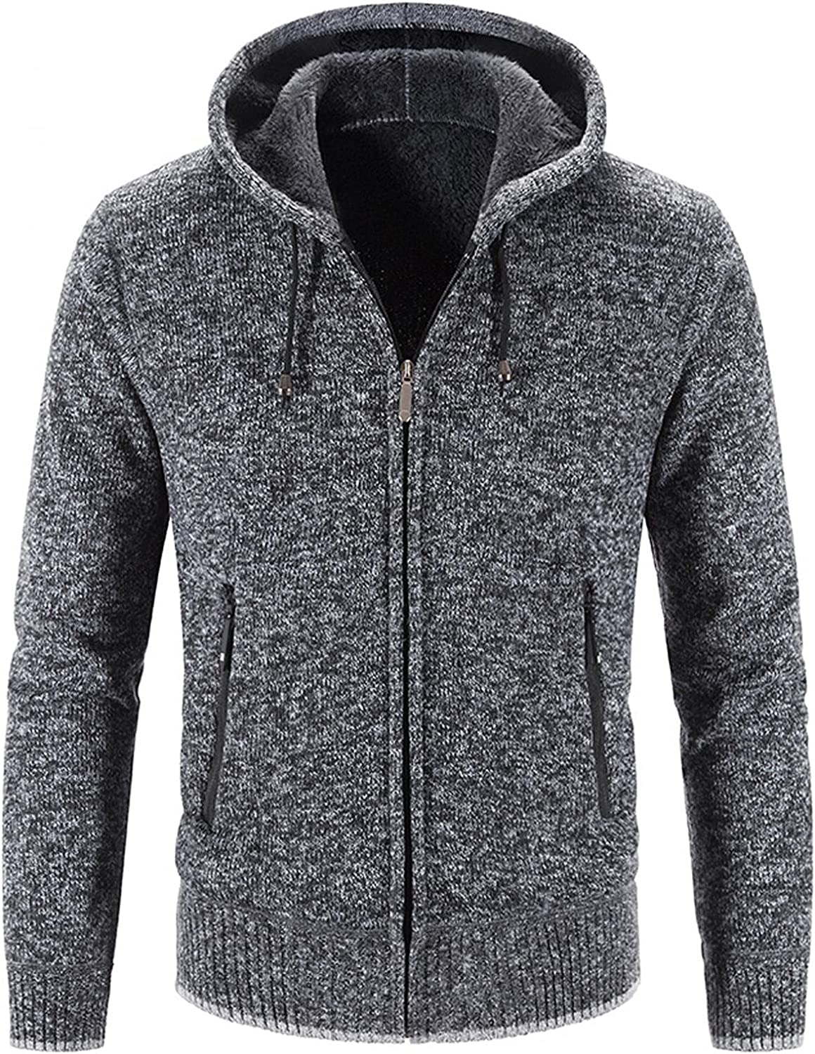 Aayomet Hoodies Cardigan for Men Winter Warm Solid Zip Long Sleeve Casual Hooded Pullover Tops Blouses Coat with Pockets