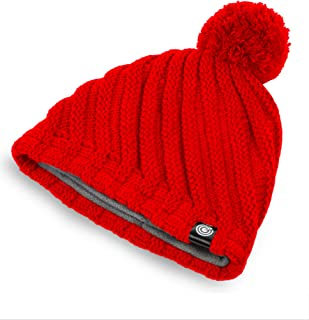 Evony Womens Ribbed Pom Beanie Hat with Warm Fleece Lining - One Size