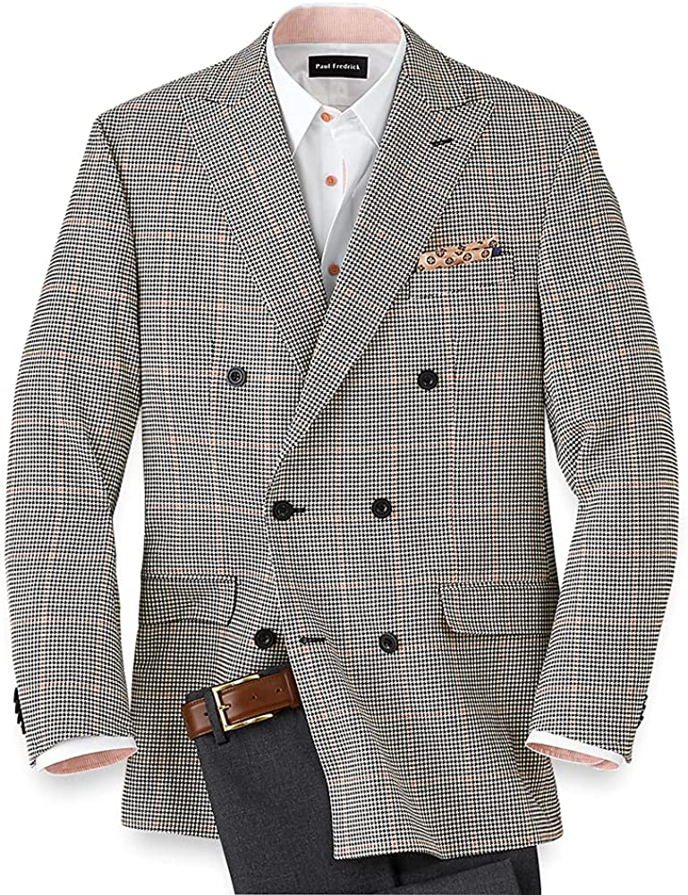 Paul Fredrick Men's Silk and Wool Houndstooth Double Breasted Sport Coat