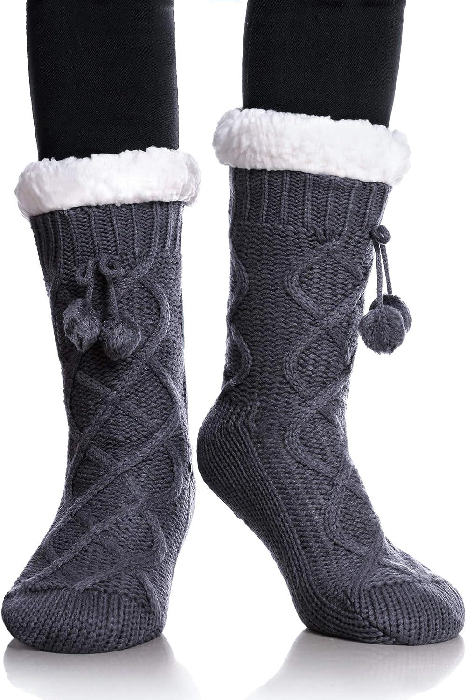 YEBING Women's Diamond Cable Knit Super Soft Warm Cozy Fuzzy Fleece-lined Winter Slipper Socks