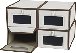 Household Essentials Set of Four Small Shoe Storage Boxes, Natural Canvas with Brown Trim