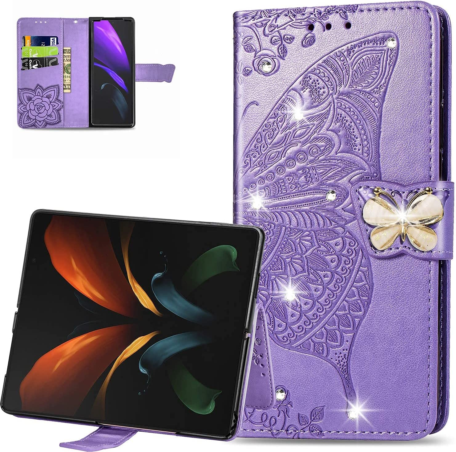 CCSmall Samsung Galaxy Z Fold3 5G Wallet Case,3D Butterfly Embossing Slim Flip PU Leather with Magnetic Closure Credit Card Slots Holder Phone Cover for Samsung Galaxy Z Fold 3 Rhinestone Purple
