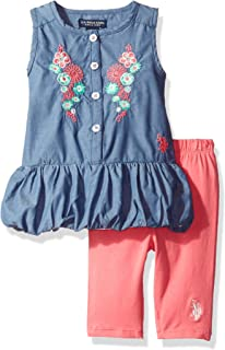 Baby Girls' 2 Piece Chambray Top and Capri Legging Set