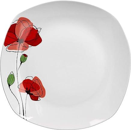 Preisvergleich für Van Well XL-Buffetplatte Monika 285 x 285 mm | quadratischer Servier-Teller | Essteller groß | Abstraktes Design | Porzellan-Geschirr | Gastronomie