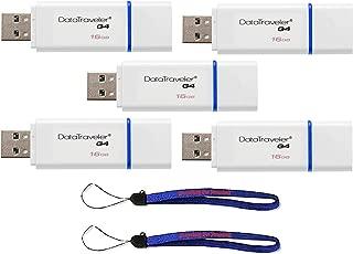 Kingston (TM) Digital 16GB (Five Pack) 16 GB Data Traveler 3.0 USB High Speed Flash Drive, Blue (DTIG4/16GBET) WIth (2) Everything But Stromboli (TM) Lanyards