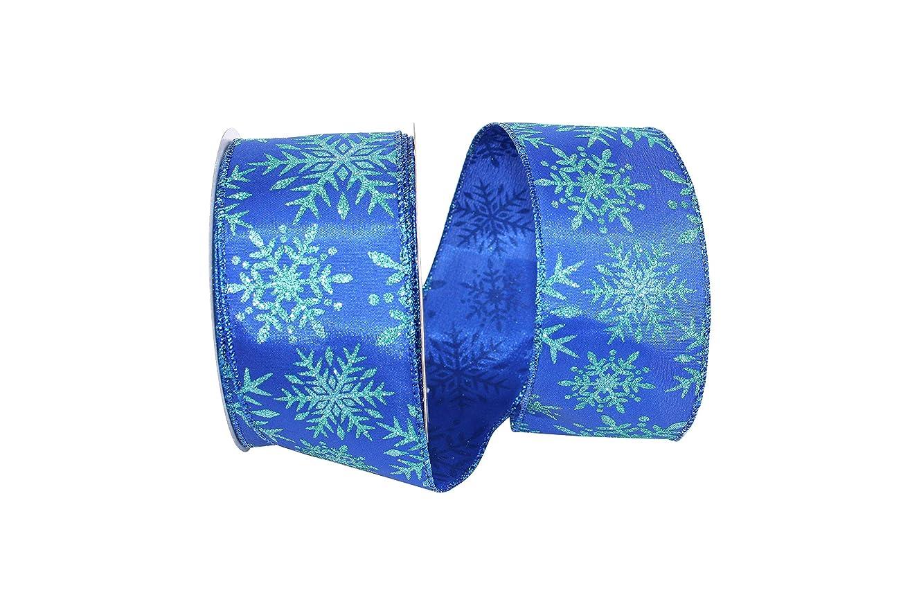 Reliant Ribbon 93194W-050-40H Snowflake Micro Glitter Wired Edge Ribbon, 2-1/2 Inch X 20 Yards, Royal
