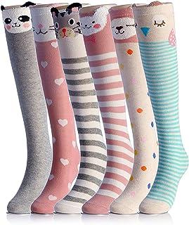 NFACE, Cartoon Animal Cat Bear Fox Calcetines hasta la rodilla hasta la pantorrilla, 6 colores, talla única