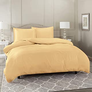 Nestl Bedding Duvet Cover 3 Piece Set – Ultra Soft Double Brushed Microfiber Hotel Collection – Comforter Cover with Button Closure and 2 Pillow Shams, Camel - King 90