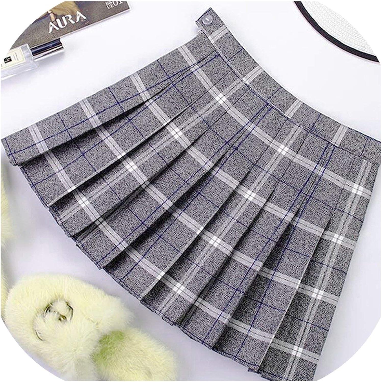 checkered summer skirt pleated skirt in dark blue Size:XS