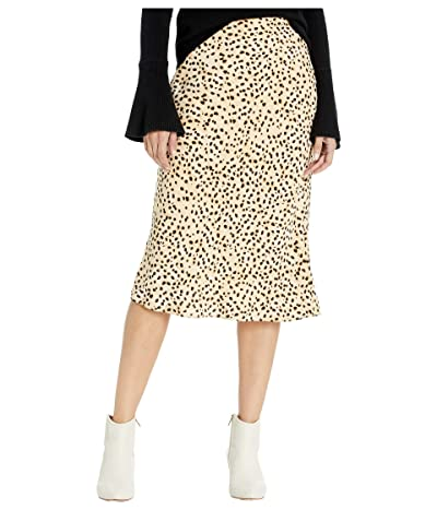 Cupcakes and Cashmere Lorelai Natural Waist Leo Dot Soft Satin Midi Skirt (Latte) Women