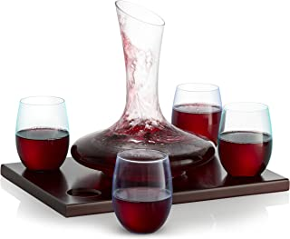 Royal Decanters Wine Decanter Set with Wood Base - With 750ml Crystal Glass Decanter and 4 Stemless Wine Glasses - Great Gift and Beautiful Display Piece for Red or White Wine - Patent Pending Design
