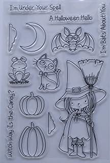 MaGuo Halloween Clear Stamps Candy Witches with Broom Pumpkin Bats Cat Frog Moon for DIY Paper Craft Card Making Decoration or Scrapbooking