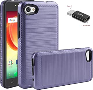 Alcatel A50 Case,Alcatel PulseMix Case,Alcatel Crave Case,Alcatel A5 Case with Micro USB to Type c Adapter,Wtiaw [Brushed Metal Texture] Hybrid Dual Layer Defender Case for Alcatel A50-LS Purple