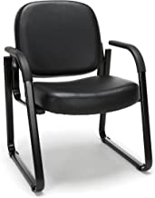 OFM Reception Chair with Arms - Anti-Microbial/Anti-Bacterial Vinyl Guest Chair, Black