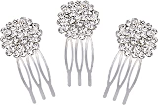 Clearine Women's Bohemian Flower Cluster Crystal Bridal Wedding 3 Hair Comb Clip Set Silver-Tone Clear