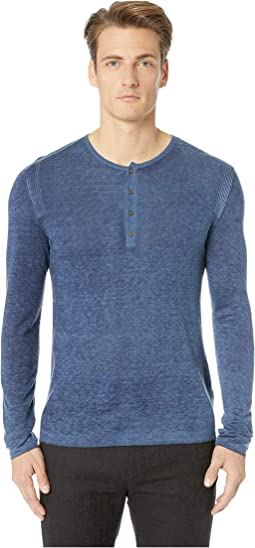 Long Sleeve Reverse Printed Henley Y902U4