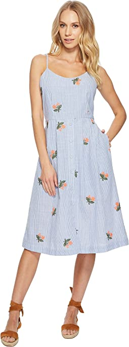 Embroidered Midi Dress with Back Tie