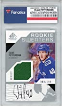 Elias Pettersson Vancouver Canucks Autographed 2018-19 Upper Deck SP Game Used Rookie Sweaters #RS-EP Card with a Piece of Game-Used Jersey - Limited Edition of 199 - Fanatics Authentic Certified