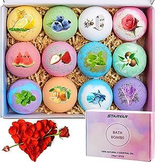 Bath Bombs,12Pcs Bath Bomb Gift Set with Natural Essential Oils, Gift Rose ,Shea Butter, Sea Salt,Spa Bubble Fizzies Bath ...