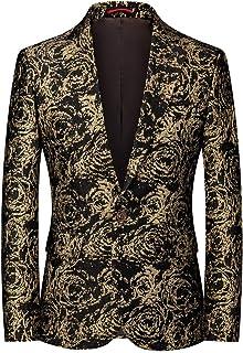 YOUTHUP Mens Sequins Blazer Slim Fit Embroidery Suit Jacket Notch Lapel 1 Button Tuxedo Party Jacket