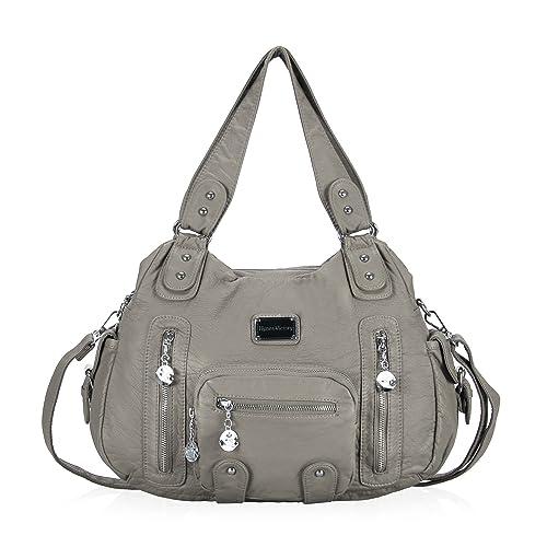 676b4f67d3a8 Veevan Washed Leather Vintage Hobo Style Shoulder Handbags (Grey-B)