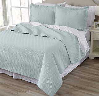 3-Piece All Season Quilt Set. King Size Quilt with 2 Shams. Soft Microfiber Bedspread and Coverlet. Emerson Collection (Won Blue)