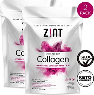 Zint Collagen Peptides Powder (20 oz Bundle, 2 x 10 oz): Paleo-Friendly, Keto-Certified, Premium Hydrolyzed Collagen Protein Supplement - Unflavored, Grass Fed, Non GMO