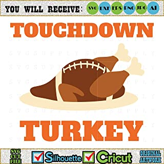 Diuangfoong Turkey Football Cut File Vinyl Decal for Silhouette Cameo Cricut Iron On Transfer On Mug Shirt Fabric Design for All Ages