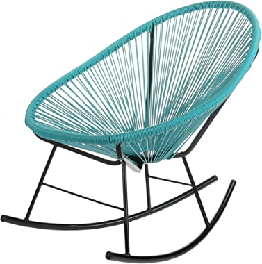 Joseph Allen Home Mid-Century Modern Acapulco Rocking Chair, Set of 2 Papasan Rockers, Turquoise Blue