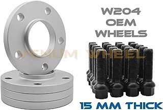 4 Pc Mercedes Benz 15mm Thick Hub Centric Wheel Spacers 5x112mm 66.56 Hub Bore w/Black Ball Seat Lug Bolts W204 C180 C250 C280 C63 AMG