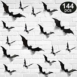 144 Pieces Bats Sticker Halloween Black Bat Decorations 3D Wall Decal Glowing Stickers for Halloween Home Party (Style Set 1)