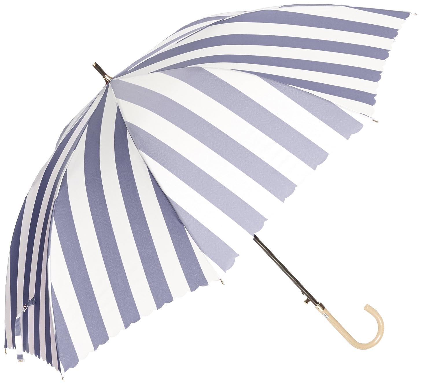 深さミルクおとなしい(ムーンバット)MOONBAT ランバンオンブルー 長傘(耐風傘)ジャンプ式 ボーダー×ロゴ