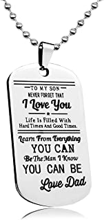 LITTONE Personalized Dog Tag to My Son Never Forget That I Love You Necklace from Dad Military Chains Pendant