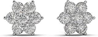 Frostrox 14K Gold 2/3 Cttw Round Seven Stone Flower Cluster Diamond Stud Earrings