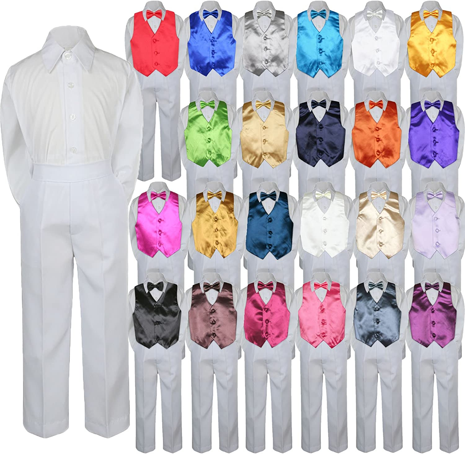 4pc Baby Toddler Kid Boy Formal Vest Bow Shirt Pants 35% Luxury OFF White Suit