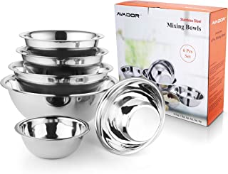 AVADOR Premium Stainless Steel Mixing Bowls, Set of 6 Brushed Stainless Steel Mixing Bowl Set, Easy To Clean, Space Saving, Great for Cooking, Baking, Prepping, Includes Gift Box