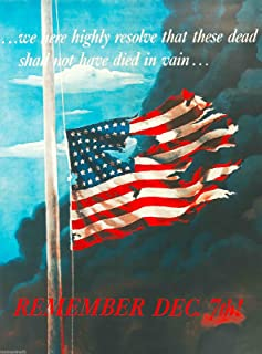 A SLICE IN TIME December 7th, 1941 Remember Pearl Harbor U.S. Vintage American WWII Memorial Day Veteran's Day Armed Services Patriotic Travel Art Souvenir Poster Print. Measures 10 x 13.5 inches