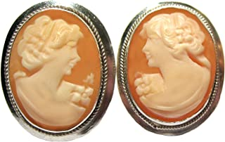Cameo-Earrings, Post Back Master Carved, Carnelian Conch Shell, Sterling Silver, Italian