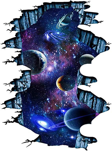 Quanhaigou Galaxy Wall Sticker Outer Space Removable Floor Decals Art Magic 3D Milky Way Home Decor Kids Children Bedroom