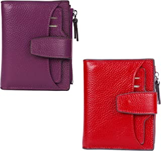 AINIMOER Women Leather Wallet RFID Blocking Small Bifold Zipper Pocket Wallet Card Case Red and Dark Magenta Bundle