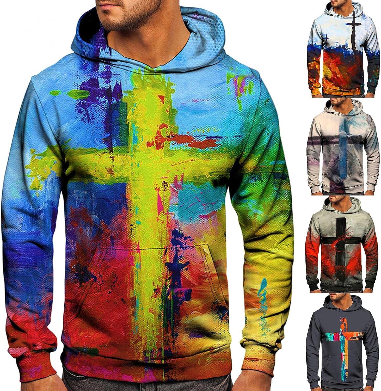 Mens Hoodies Pullover Hooded Athletic Hoodies Tie Dye Crucifix Print Long Sleeve Slim Fit Drawstring Sweatshirt Sport Coats