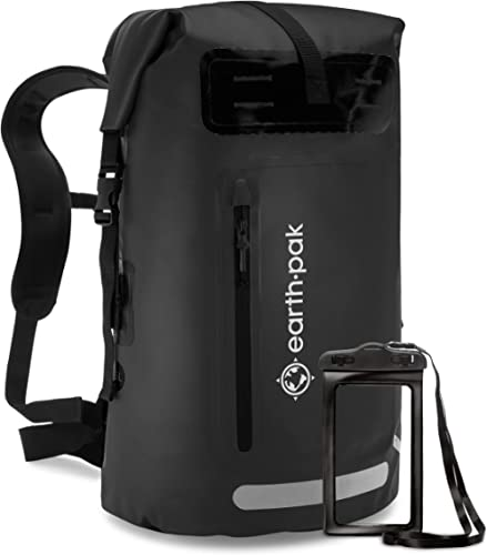 Earth Pak Waterproof Backpack: 35L / 55L Heavy Duty Roll-Top Closure with Easy Access Front-Zippered Pocket and Cushi...