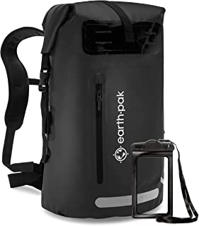 Earth Pak Waterproof Backpack: 35L / 55L Heavy Duty Roll-Top Closure with Easy Access Front-Zippered Pocket and Cushioned ...