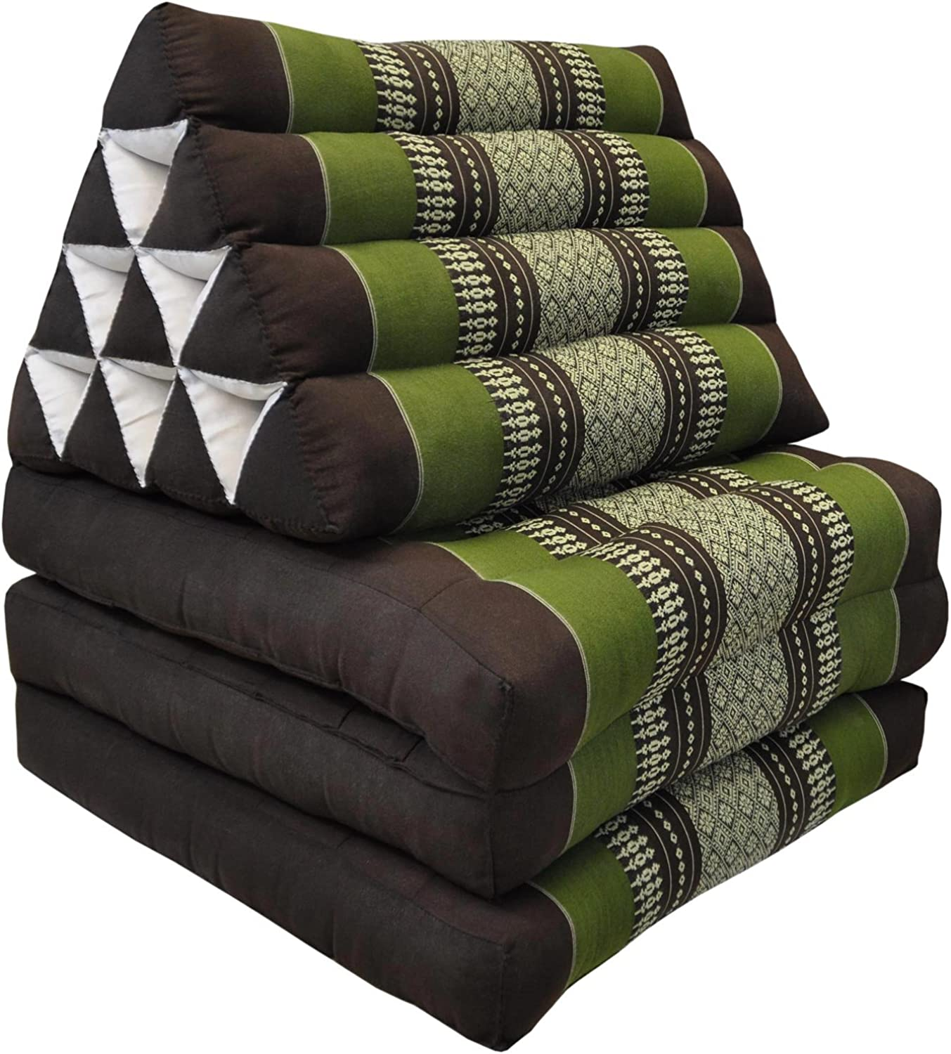 Tungyashop@thai Traditional Cushion 67x21x3 Inches Kapok Mattress (Green-Brown, 3 Fold)