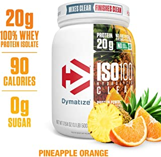Dymatize ISO100 Hydrolyzed Clear Protein Powder, 100% Whey Protein Isolate Powder, 20g of Protein and 4g BCAAs, Gluten Free, Keto Friendly, Easy Mixing, Light & Refreshing, Pineapple Orange, 1lbs