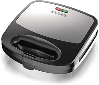 BLACK+DECKER WM2000SD 3-in-1 Morning Meal Station Waffle, Grill, or Sandwich Maker, Compact Design, Black/Silver