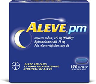 Aleve PM Caplets, Naproxen Sodium 220 mg (NSAID)/diphenhydramine HCl 25 mg, Pain Reliever/Nighttime Sleep-Aid, Non-Habit Forming, 160 Count