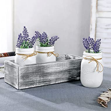 MyGift White Glass Mason Jars with Rustic String in Vintage Gray Whitewashed Box Wood Tray for Decorative Plant/Flower Displa