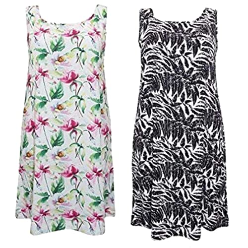 f3c92878908ff holidaysuitcase Ladies Twin Pack Tropical Print Plunge Back Beach Cover up  Dresses