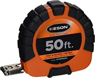 Keson ST18M503X Closed Case Steel Blade Tape with Hook End, 50 ft/15m Length, 50-Foot/15m